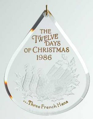 1986 Twelve Days of Christmas #3: Three French Hens Hallmark ornament